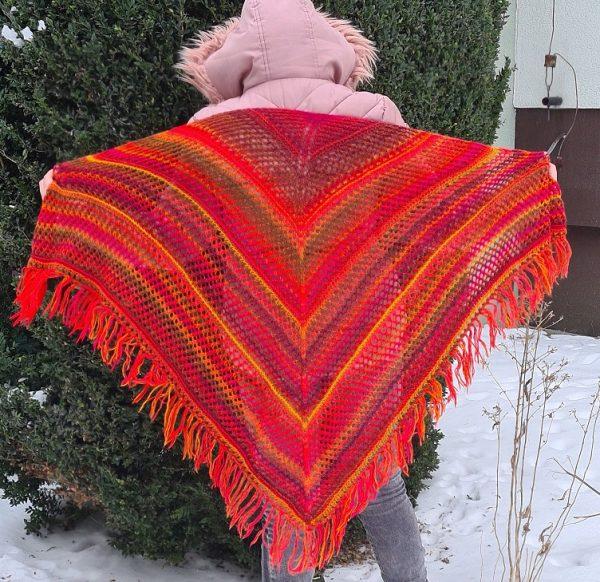 ażurowa chusta na drutach Oliwia